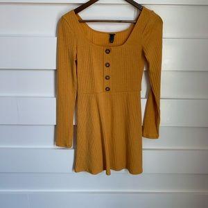 (NWT) Ribbed Mustard Yellow Dress
